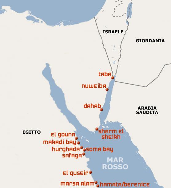 Cartina Turistica Egitto.Le Localita Turistiche Del Mar Rosso
